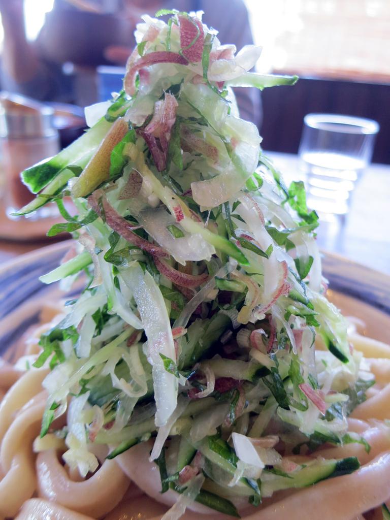 麺の上にそびえる夏野菜タワー