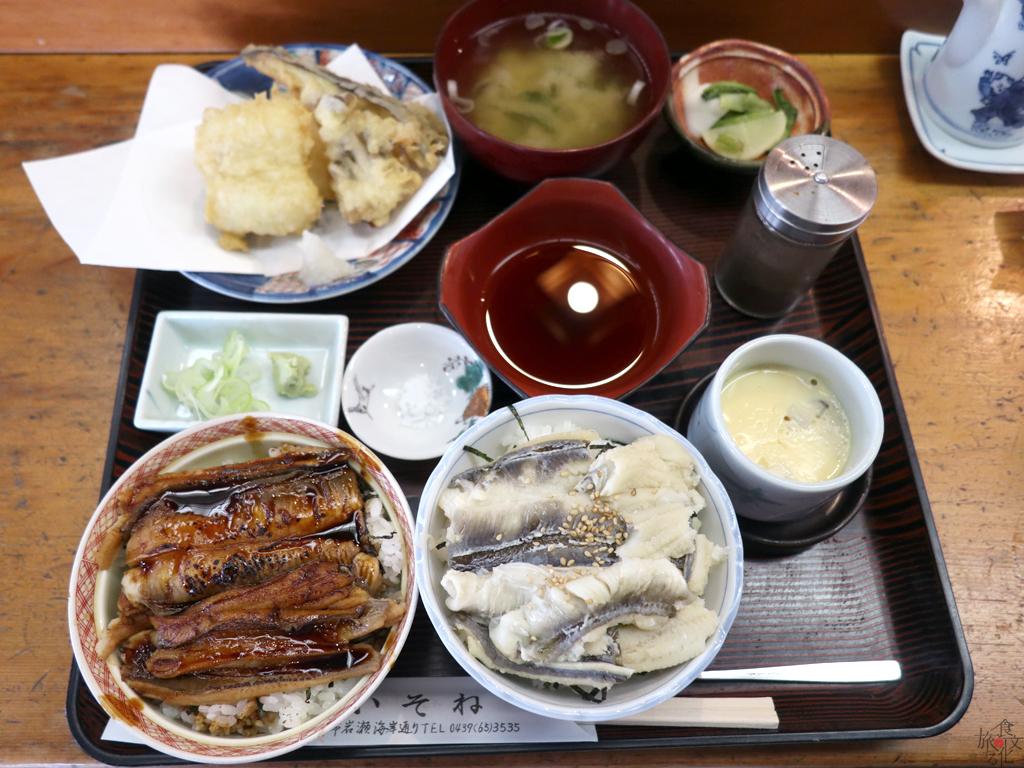「寿司・活魚料理 いそね」のはかりめ2色丼 ハーフの天ぷら添え